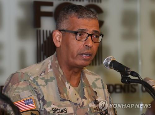 This photo, taken Aug. 22, 2018, shows U.S. Forces Korea (USFK) Commander Gen. Vincent Brooks speaks during a press conference in Seoul. (Yonhap)