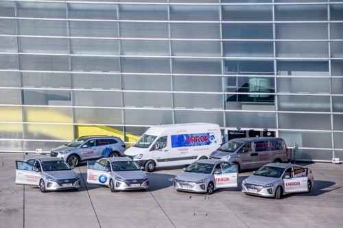 This photo offered by Hyundai Motor shows the vehicles it supplied to an art event held in Austria to promote the models. (Yonhap)