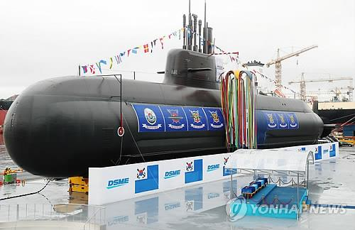 This photo, taken Sept. 14, 2018, shows the 3,000-ton diesel-electric air-independent propulsion submarine, named after a prominent South Korean independence fighter, the Dosan Ahn Chang-ho, sitting at the Okpo Shipyard of Daewoo Shipbuilding and Marine Engineering Co. on the southern island of Geoje. (Yonhap)