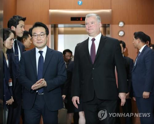 This photo, taken Sept. 11, 2018, shows South Korea's top nuclear envoy Lee Do-hoon (L) and Stephen Biegun, the new U.S. point man on North Korea. (Yonhap)