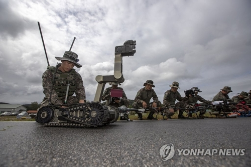 Members of South Korean Army's drone combat team hold an exercise in this undated photo provided by the Army. (Yonhap)