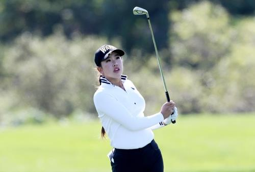 Yealimi Noh of the United States watches her shot during the first round of the LPGA KEB Hana Bank Championship at Sky 72 Golf Club's Ocean Course in Incheon, 40 kilometers west of Seoul, on Oct. 11, 2018, in this photo courtesy of the tournament organizers. (Yonhap)