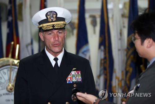 Adm. John C. Aquilino, the commander of the U.S. Pacific Fleet, speaks during an interview with Yonhap News Agency aboard the aircraft carrier USS Ronald Reagan in waters off the southern island of Jeju on Oct. 12, 2018. (Yonhap)