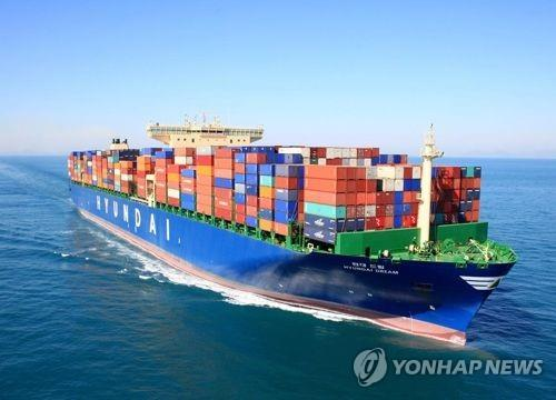 This undated photo provided by Hyundai Merchant Marine Co. shows one of its container ships. (Yonhap)