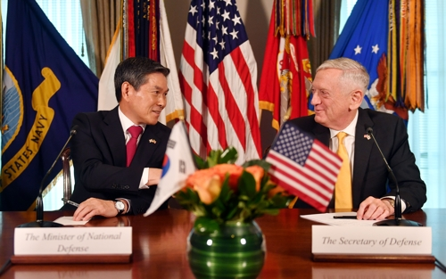 South Korean Defense Minister Jeong Kyeong-doo (L) and U.S. Defense Secretary James Mattis attend a joint press conference after their Security Consultative Meeting at the Pentagon on Oct. 31, 2018, in this photo provided by Seoul's defense ministry. (Yonhap)