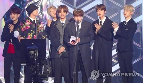 BTS attends the 2018 MBC Plus X Genie Music Awards in Incheon, west of Seoul, on Nov. 6, 2018. (Yonhap)