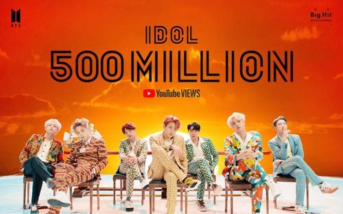 BTS' 'IDOL' music video hits 500 mln YouTube views