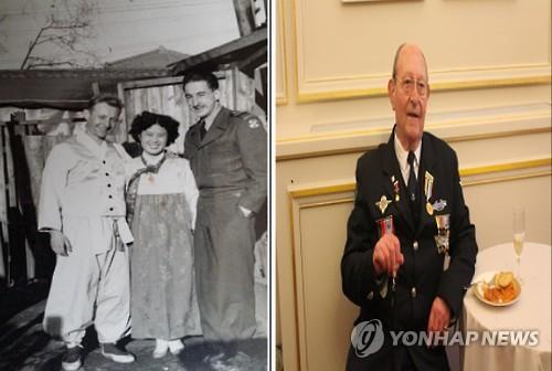 Des photos d'André Belaval lors de sa participation à la guerre de Corée (à gauche) et de sa visite en Corée du Sud. (Ministère des Patriotes=Yonhap)