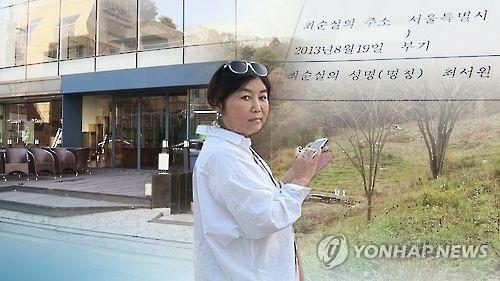 Image infographique de Choi Soon-sil (Yonhap News TV)