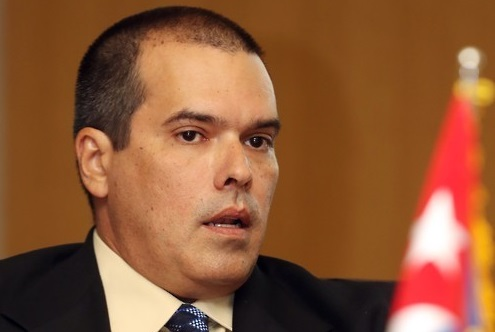Le PDG de l'agence de presse latino-américaine Prensa Latina, Luis González, durant l'interview au siège de l'agence Yonhap, devenu un partenaire, le 14 novembre 2016