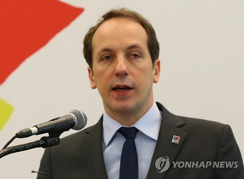 L'ambassadeur de France en Corée lors de la cérémonie d'ouverture de l'année de la France en Corée, à Séoul en 2016 (Photo d'archives)
