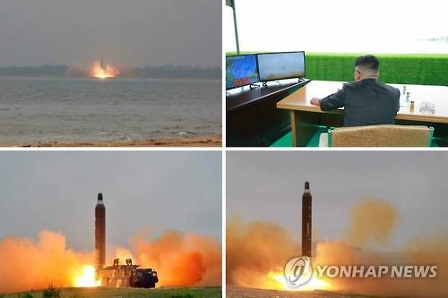 Lors d'un tir d'essai de missile balistique Musudan, Kim Jong-un regarde des images retransmises, d'après des photos diffusées le 23 juin 2016 par le quotidien officiel nord-coréen Rodong Sinmun (Photos d'archives, Utilisation en Corée du Sud uniquement et redistribution interdite)