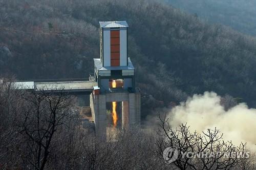 La Corée du Nord a annoncé le 9 avril 2016 le succès d'un test de moteur d'une nouvelle roquette de longue portée (Photo d'archives, Utilisation en Corée du Sud uniquement et redistribution interdite)