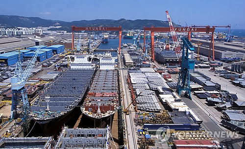 Une vue panoramique du chantier naval à Ulsan de Hyundai Heavy Industries (Photo d'archives)