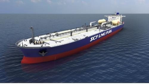 Une image fournie par Hyundai Heavy du pétrolier au GNL qui sera construit pour Sovcomflot.