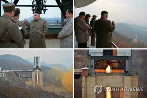 Le leader nord-coréen Kim Jong-un est devant le banc d'essai du moteur de fusée au site de lancement de satellites de Sohae, situé à Tongchang-ri, le 18 mars 2017, dans le nord-ouest de la péninsule coréenne, selon des images de la Télévision centrale nord-coréenne (KCTV). Des médias nord-coréens ont rapporté ce matin que l'essai au banc de propulsion du moteur spatial a été un succès. (Utilisation en Corée du Sud uniquement et redistribution interdite) (Yonhap)