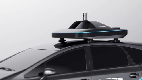 Un capteur installé sur le toit du véhicule autonome conçu par le portail Internet Naver, dévoilé à l'occasion du Salon automobile de Séoul 2017 au KINTEX, le 30 mars 2017