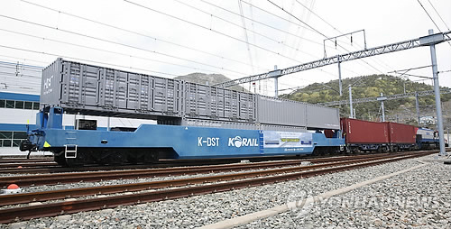 K-DST, un wagon de fret Duplex lors d'un essai de circulation (Photo d'archives)