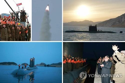 Les images du tir d'essai d'un missile mer-sol balistique stratégique et le sous-marin utilisé pour ce dernier ont été diffusées par le quotidien officiel nord-coreén Rodong Sinmun  le 25 août 2016. (Utilisation en Corée du Sud uniquement et redistribution interdite)