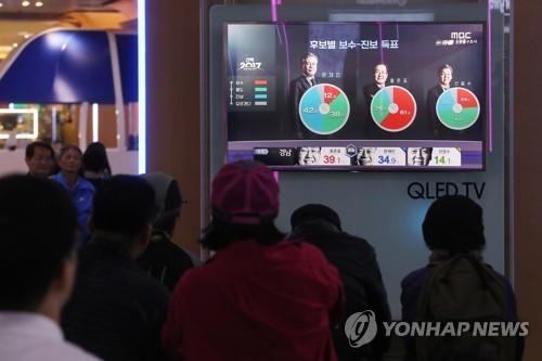 Des gens regardent la télévision lors de l'annonce du résultat du sondage à la sortie des urnes le 9 mai 2017.