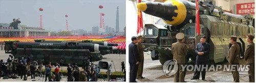A droite, une photo dévoilée le 15 mai 2017 par le Rodong Sinmun, montrant un missile balistique de portée intermédiaire Hwasong-12. Ce dernier ressemble à un projectile qui a été présenté le mois dernier lors d'un défilé militaire, à gauche. (Utilisation en Corée du Sud uniquement et redistribution interdite)