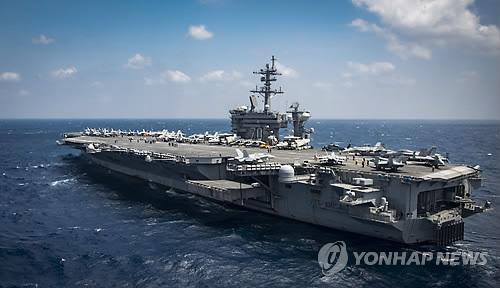 Le porte-avion à propulsion nucléaire américain, l'USS Carl Vinson (Photo d'archives)