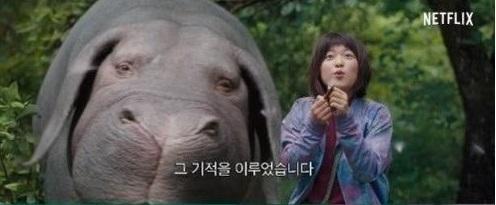 Une scène du film «Okja» réalisé par Bong Joon-ho. L'animal Okja est accompagné de la protagoniste Mija. (Netflix=Yonhap)