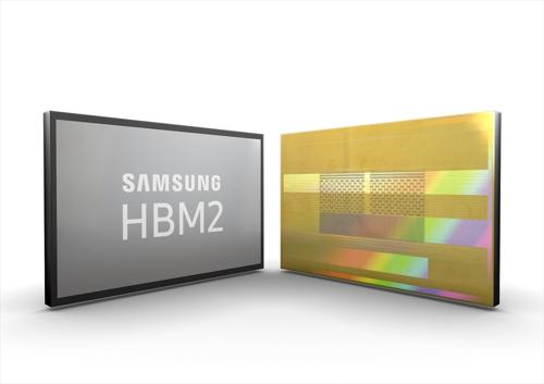 Des puces DRAM High Bandwidth Memory 2 (HBM2) de 8 Go de Samsung Electronics Co. © Samsung Electronics Co.