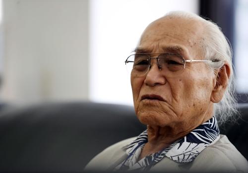 Un témoin du travail forcé de l'île de Hashima lors d'une interview accordée à Yonhap, le 27 juillet 2017.