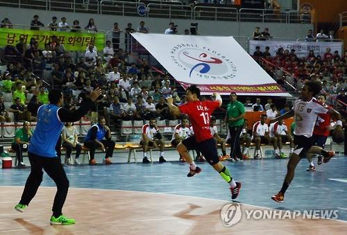 Un match entre la Corée du Sud et l'Egypte au Championnat international de handball, Coupe de Séoul en 2015 (Photo d'archives)
