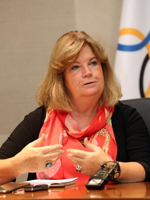 Gunilla Linderg, chef de la Commission de coordination du Comité international olympique (CIO), lors d'une interview avec l'agence de presse Yonhap à PyeongChang le 30 août 2017.