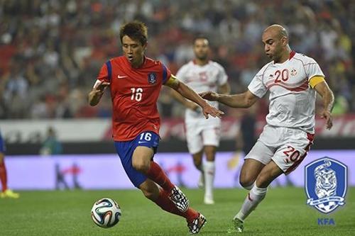 Match entre la Corée du Sud et la Tunisie en 2014