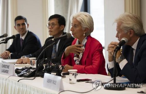 Christine Lagarde, directrice générale du FMI, s'adresse à la presse, à Séoul, le lundi 11 septembre 2017. Elle prévoit une croissance coréenne de 3% pour l'année en cours.