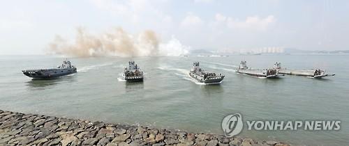 Reconstitution d'Operation Chromite (15-19 septembre 1950), le 9 septembre 2016, au large d'Incheon.