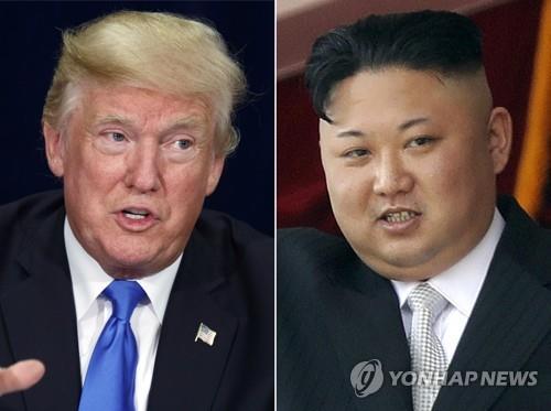 Cette combinaison de photos publiée par AP montre le président américain Donald Trump et le dirigeant nord-coréen Kim Jong-un. (Yonhap)