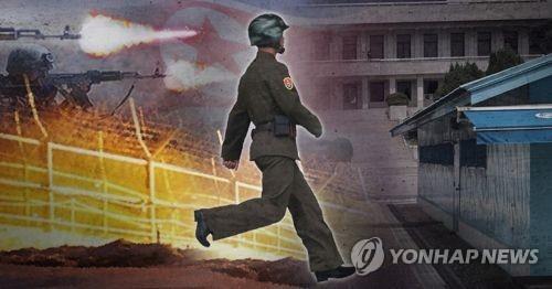 Ce montage photographique montre un soldat nord-coréen en train de se rendre en Corée du Sud via la JSA à la frontière inter-coréenne.