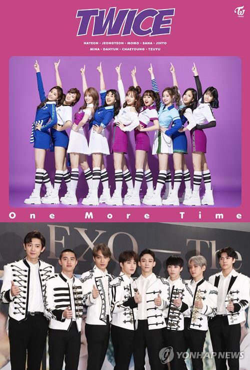 Les groupes de K-pop TWICE (en haut) et EXO. © JYP Entertainment