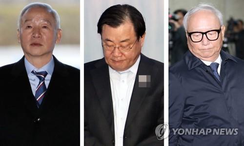 Des précédents directeurs du NIS : de la gauche vers la droite, Nam Jae-joon, Lee Byung-kee et Lee Byong-ho