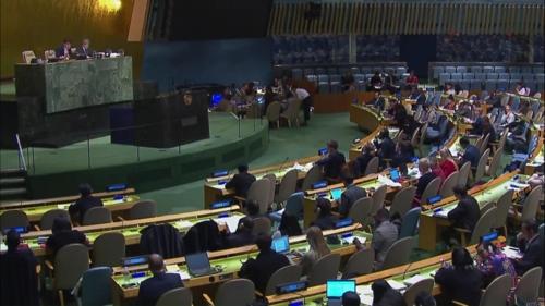 L'Assemblée générale de l'ONU adopte le 19 décembre 2017 une résolution condamnant les violations des droits de l'Homme en Corée du Nord. (Capture d'écran du site Web des Nations unies)