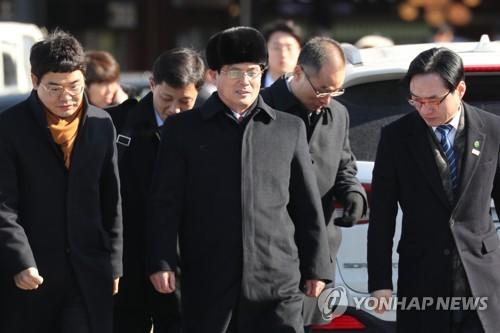 Yun Yong-bok, haut responsable du ministère nord-coréen du Sport, ce jeudi 25 janvier 2018 à Gapyeong, dans la province du Gyeonggi. Yun dirige une équipe préparatoire nord-coréenne qui inspectera les installations olympiques.