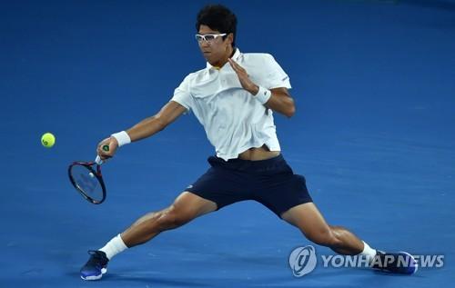 Chung Hyeon ce vendredi 26 janvier 2018 lors de son match contre Roger Federer.