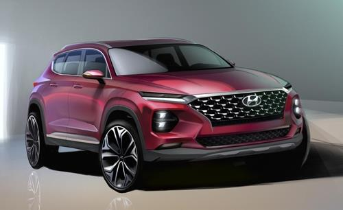 Cette image, gracieusement fournie par Hyundai Motor, montre le tout nouveau SUV Santa Fe du constructeur automobile, qui sera lancé le mois prochain sur le marché intérieur.