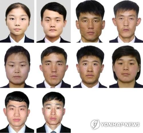 Ces photos capturées du site Info 2018 le 1er février 2018 montrent les athlètes nord-coréens qui participeront aux JO de PyeongChang. A partir du haut et de la gauche : Ryom Tae-ok (patinage de vitesse), Kim Ju-sik (patinage de vitesse), Choe Myong-gwang (ski alpin), Kang Song-il (ski alpin), Kim Ryon-hyang (ski alpin), Han Chun-gyong (ski de fond), Pak Il-chol (ski de fond), Ri Yong-gum (ski de fond), Jong Kwang-bom (short-track) et Choe Un-song (short-track). (Yonhap)