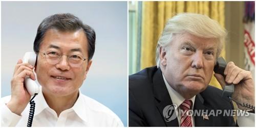 Le président Moon Jae-in et le président américain Donald Trump au téléphone. (photos d'archives)