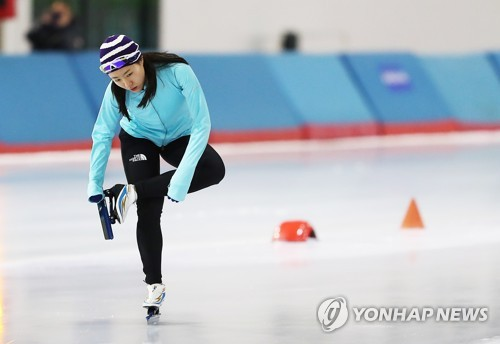 La patineuse de vitesse Lee Sang-hwa à Séoul le 12 janvier 2018.