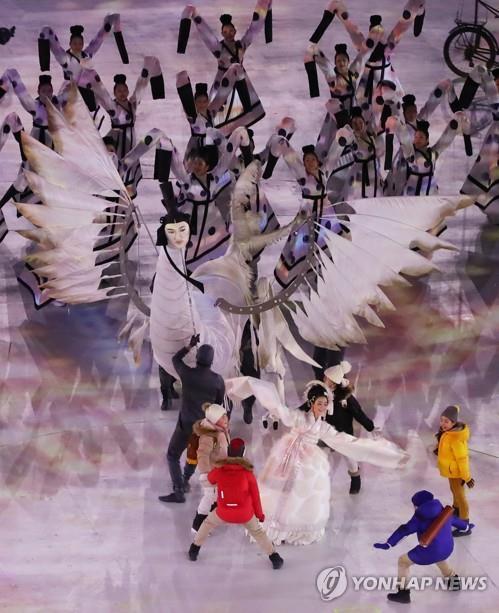 Marionnette «Inmyeonjo», lors de la cérémonie d'ouverture des Jeux olympiques d'hiver de Pyeongchang, le 9 février 2018.