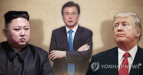 Ce photomontage montre (de g. à d.) le dirigeant nord-coréen Kim Jong-un, le président sud-coréen Moon Jae-in et le président américain Donald Trump.