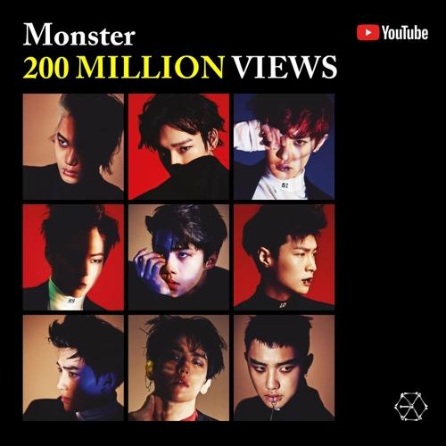 Le clip vidéo «Monster» d'EXO a dépassé les 200 millions de vues sur le site YouTube le vendredi 8 juin 2018. ⓒ SM Entertainment