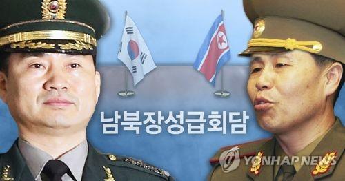 Le général de division sud-coréen Kim Do-gyun (à gauche) et le général de corps d'armée nord-coréen An Ik-san