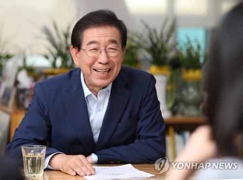 Le maire de Séoul Park Won-soon accorde une interview à l'agence de presse Yonhap ce mercredi 20 juin 2018.